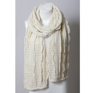 Ivory Scalloped Scarf Women Knit Ruffle Cream Wrap